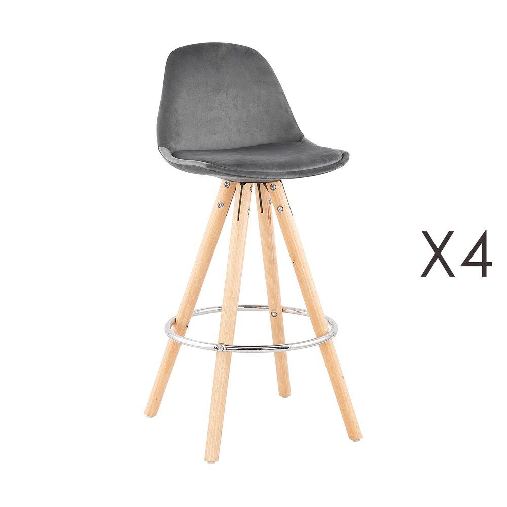 Tabouret de bar - Lot de 4 chaises de bar H65 cm en tissu gris - CIRCOS photo 1