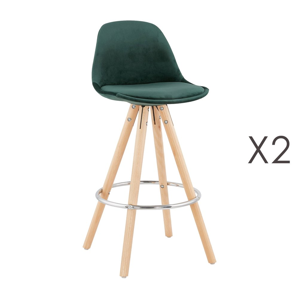 Tabouret de bar - Lot de 2 chaises de bar H65 cm en tissu vert foncé - CIRCOS photo 1