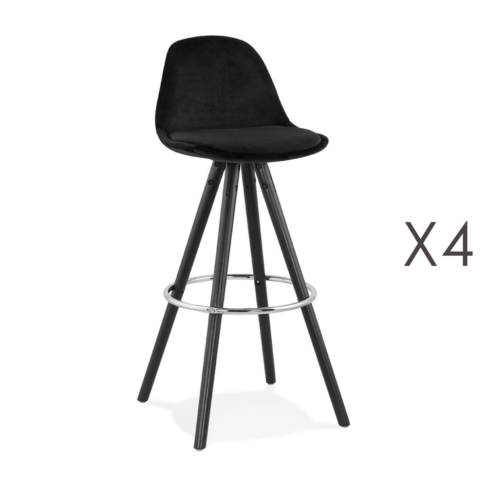 Tabouret de bar - Lot de 4 chaises de bar H75 cm tissu noir pieds noirs - CIRCOS photo 1