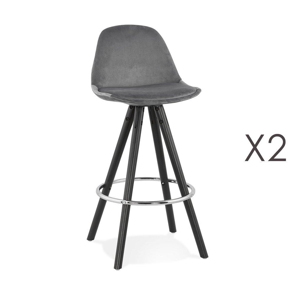 Tabouret de bar - Lot de 2 chaises de bar H65 cm tissu gris pieds noirs - CIRCOS photo 1