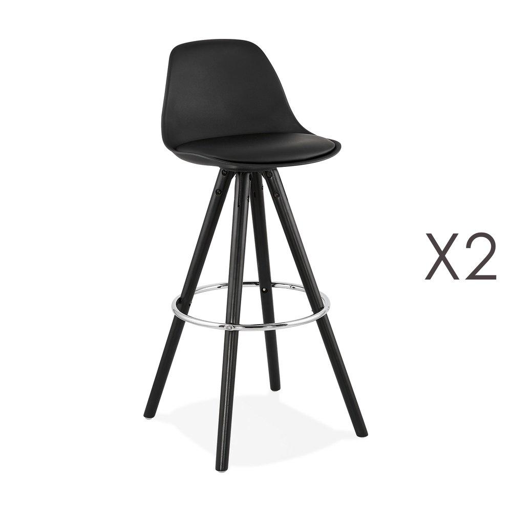 Tabouret de bar - Lot de 2 chaises de bar H74 cm PU noir et pieds noirs - CIRCOS photo 1