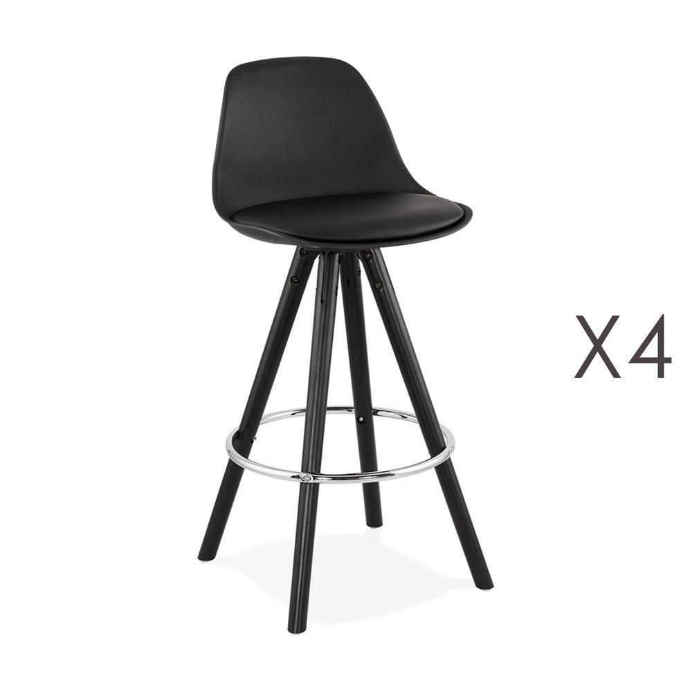 Tabouret de bar - Lot de 4 chaises de bar H64 cm PU noir et pieds noirs - CIRCOS photo 1