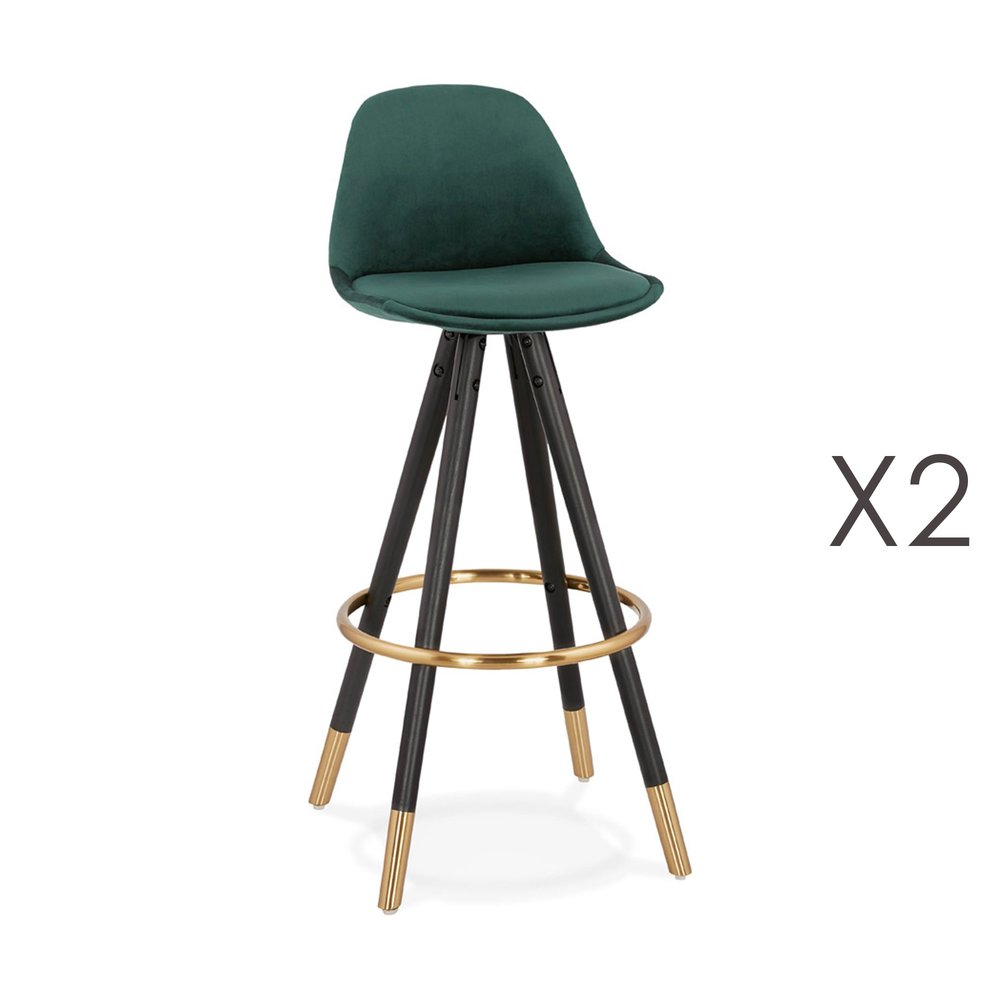 Tabouret de bar - Lot de 2 chaises de bar H75 cm vert pieds noirs et dorés - CIRCOS photo 1