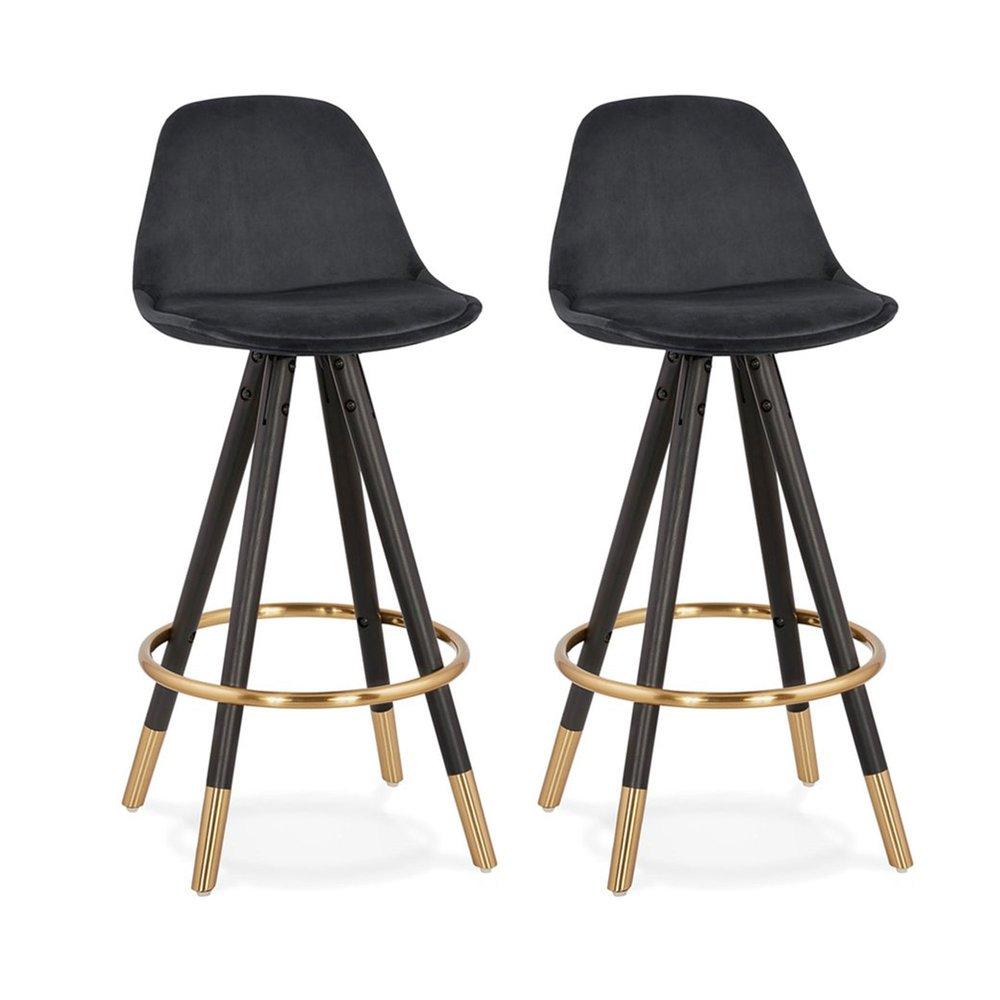 Tabouret de bar - Lot de 2 chaises de bar H65 cm noir pieds noirs et dorés - CIRCOS photo 1