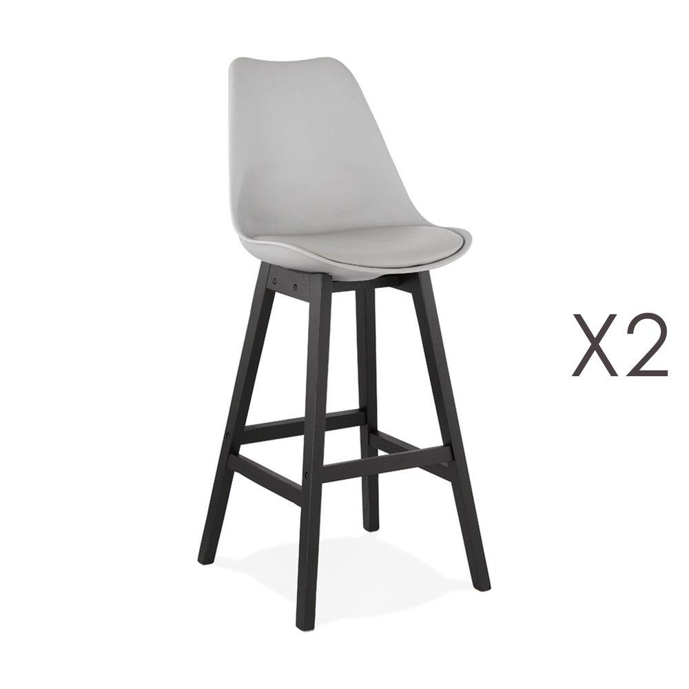 Tabouret de bar - Lot de 2 chaises de bar grises H75 cm avec pieds noirs - ELO photo 1