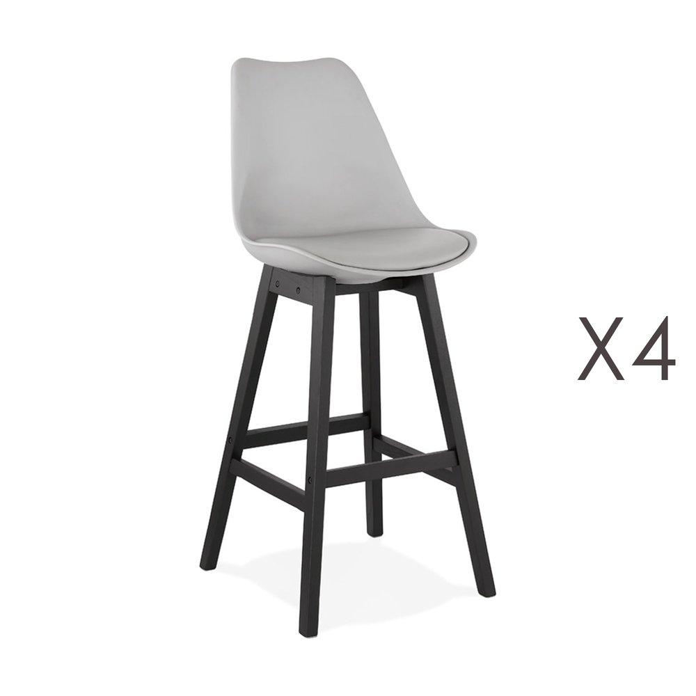 Tabouret de bar - Lot de 4 chaises de bar grises H75 cm avec pieds noirs - ELO photo 1