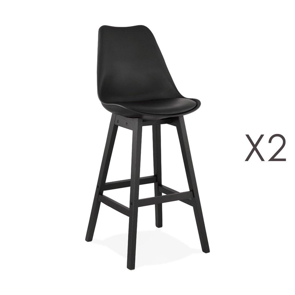 Tabouret de bar - Lot de 2 chaises de bar noires H75 cm avec pieds noirs - ELO photo 1