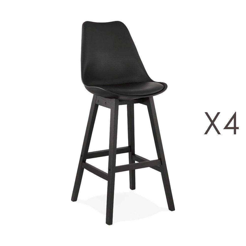 Tabouret de bar - Lot de 4 chaises de bar noires H75 cm avec pieds noirs - ELO photo 1