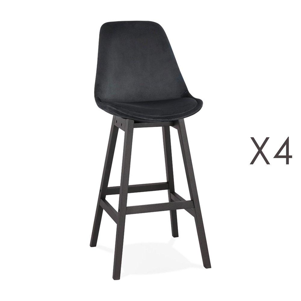 Tabouret de bar - Lot de 4 chaises de bar H76 cm en tissu noir pieds noirs - ELO photo 1