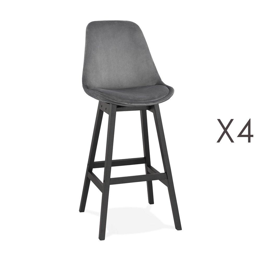 Tabouret de bar - Lot de 4 chaises de bar H76 cm en tissu gris pieds noirs - ELO photo 1