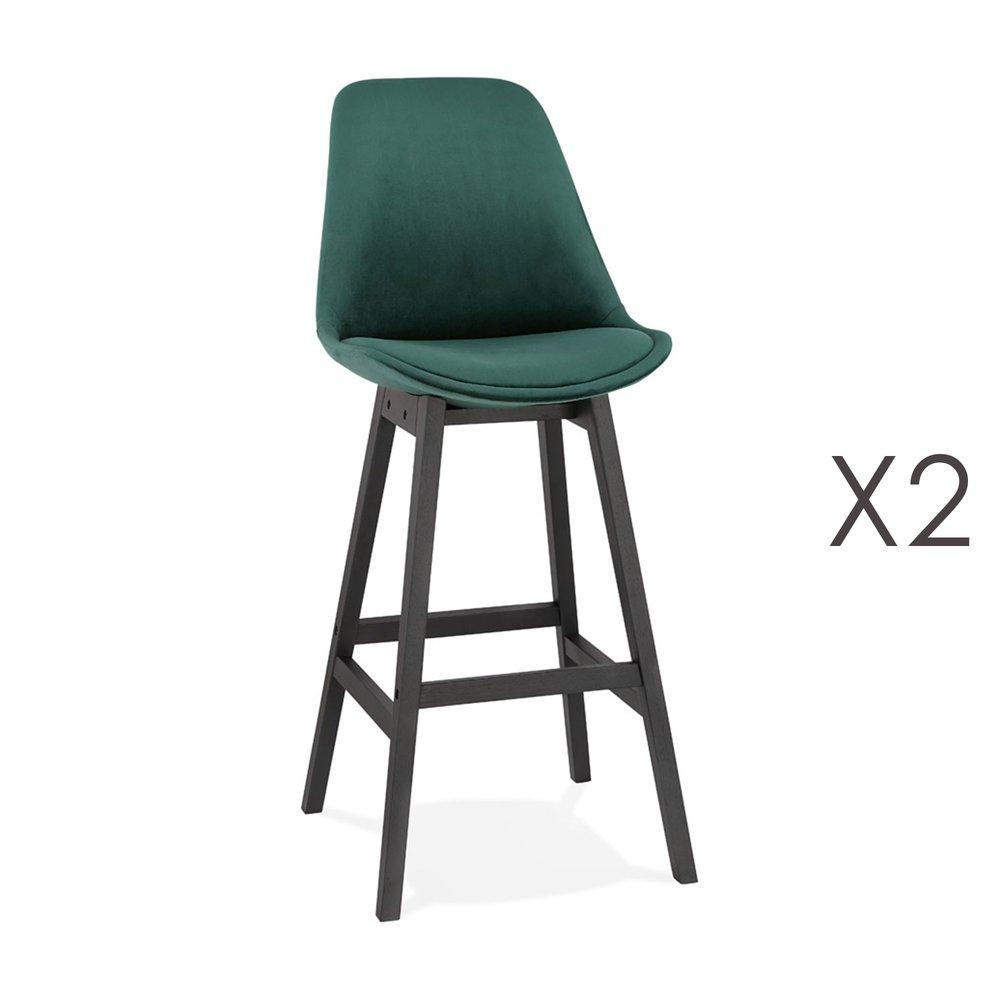 Tabouret de bar - Lot de 2 chaises de bar H76 cm en tissu vert foncé pieds noirs - ELO photo 1