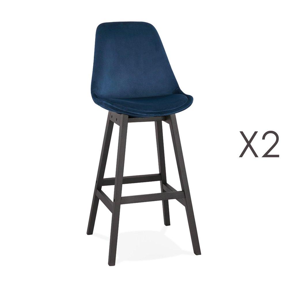 Tabouret de bar - Lot de 2 chaises de bar H76 cm en tissu bleu foncé pieds noirs - ELO photo 1