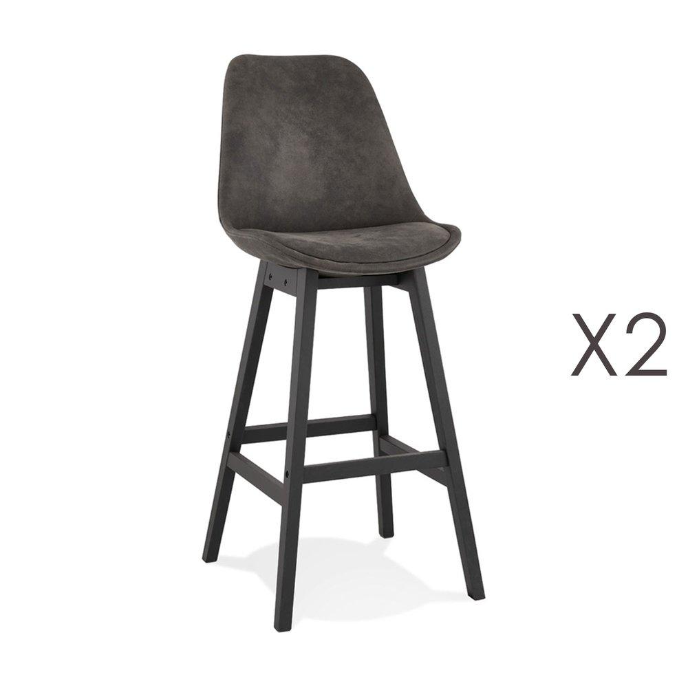 Tabouret de bar - Lot de 2 chaises de bar H76 cm en tissu gris foncé pieds noirs - ELO photo 1
