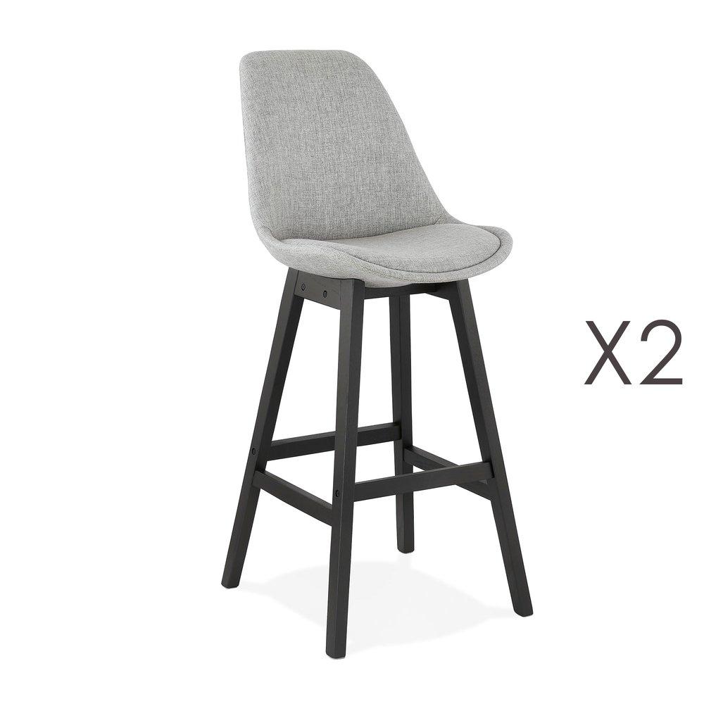 Tabouret de bar - Lot de 2 chaises de bar H75 cm en tissu gris clair pieds noirs - ELO photo 1