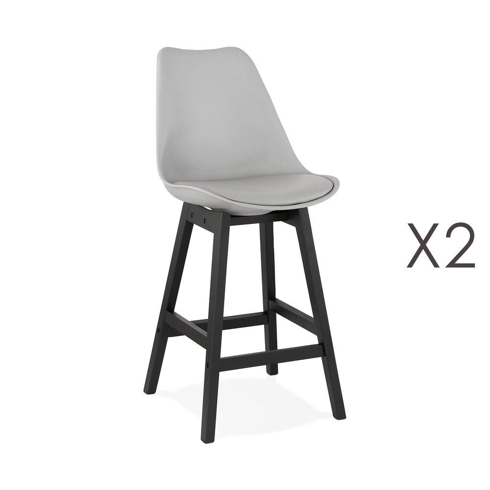 Tabouret de bar - Lot de 2 chaises de bar grises H65 cm avec pieds noirs - ELO photo 1