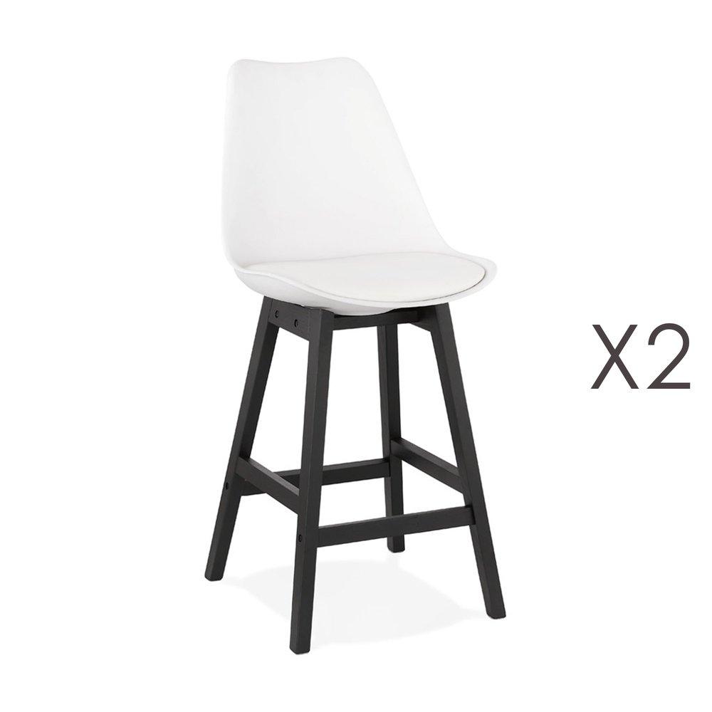 Tabouret de bar - Lot de 2 chaises de bar blanches H65 cm avec pieds noirs - ELO photo 1