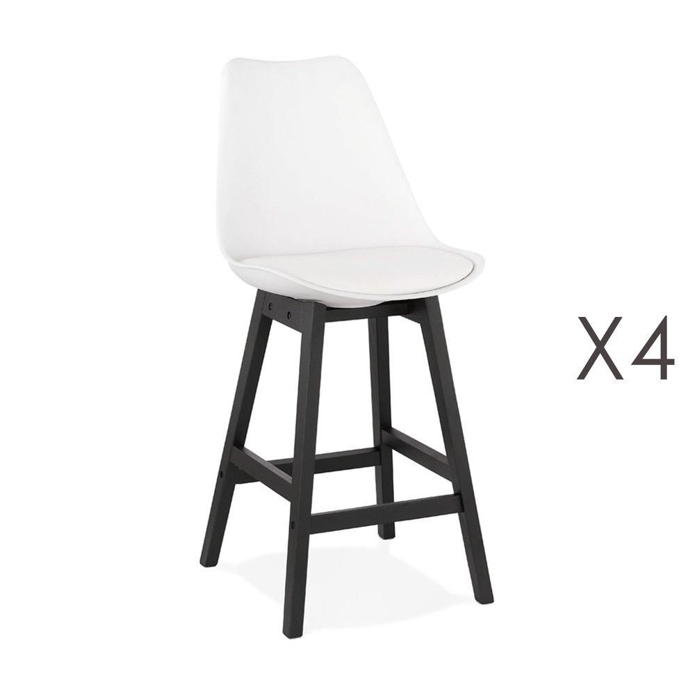 Tabouret de bar - Lot de 4 chaises de bar blanches H65 cm avec pieds noirs - ELO photo 1