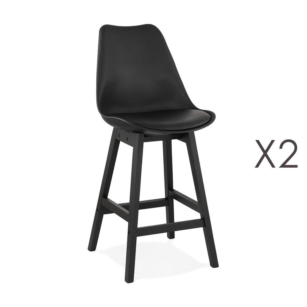 Tabouret de bar - Lot de 2 chaises de bar noires H65 cm avec pieds noirs - ELO photo 1
