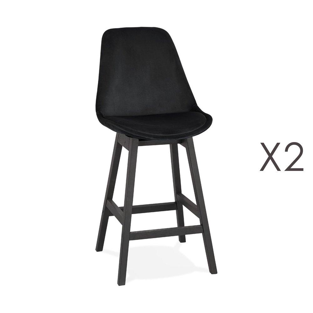 Tabouret de bar - Lot de 2 chaises de bar H66 cm en tissu noir pieds noirs - ELO photo 1