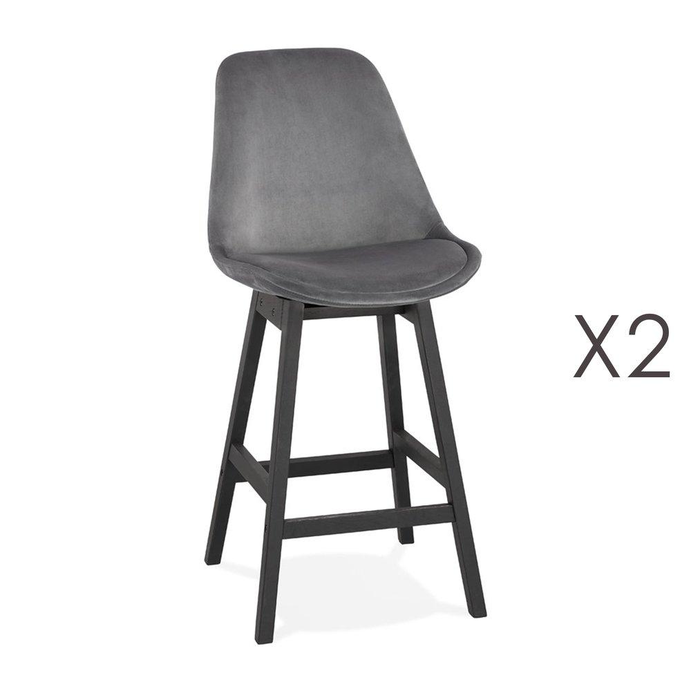 Tabouret de bar - Lot de 2 chaises de bar H66 cm en tissu gris pieds noirs - ELO photo 1