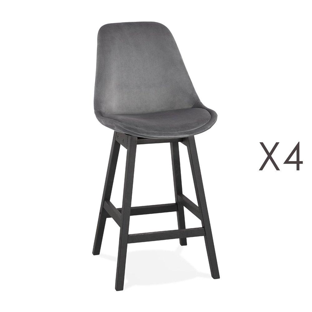 Tabouret de bar - Lot de 4 chaises de bar H66 cm en tissu gris pieds noirs - ELO photo 1