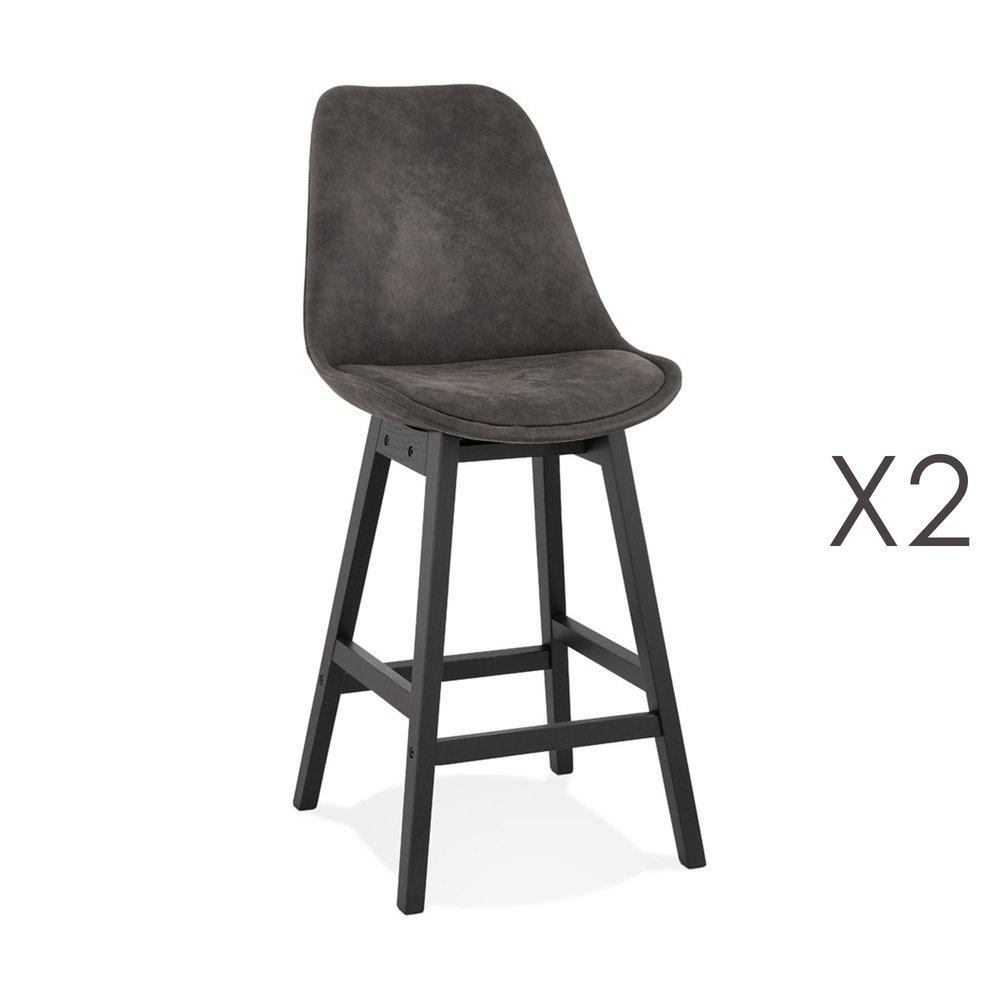 Tabouret de bar - Lot de 2 chaises de bar en tissu gris foncé pieds noirs - ELO photo 1