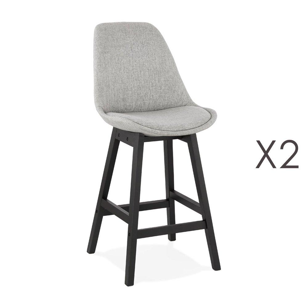 Tabouret de bar - Lot de 2 chaises de bar H65 cm en tissu gris clair pieds noirs - ELO photo 1
