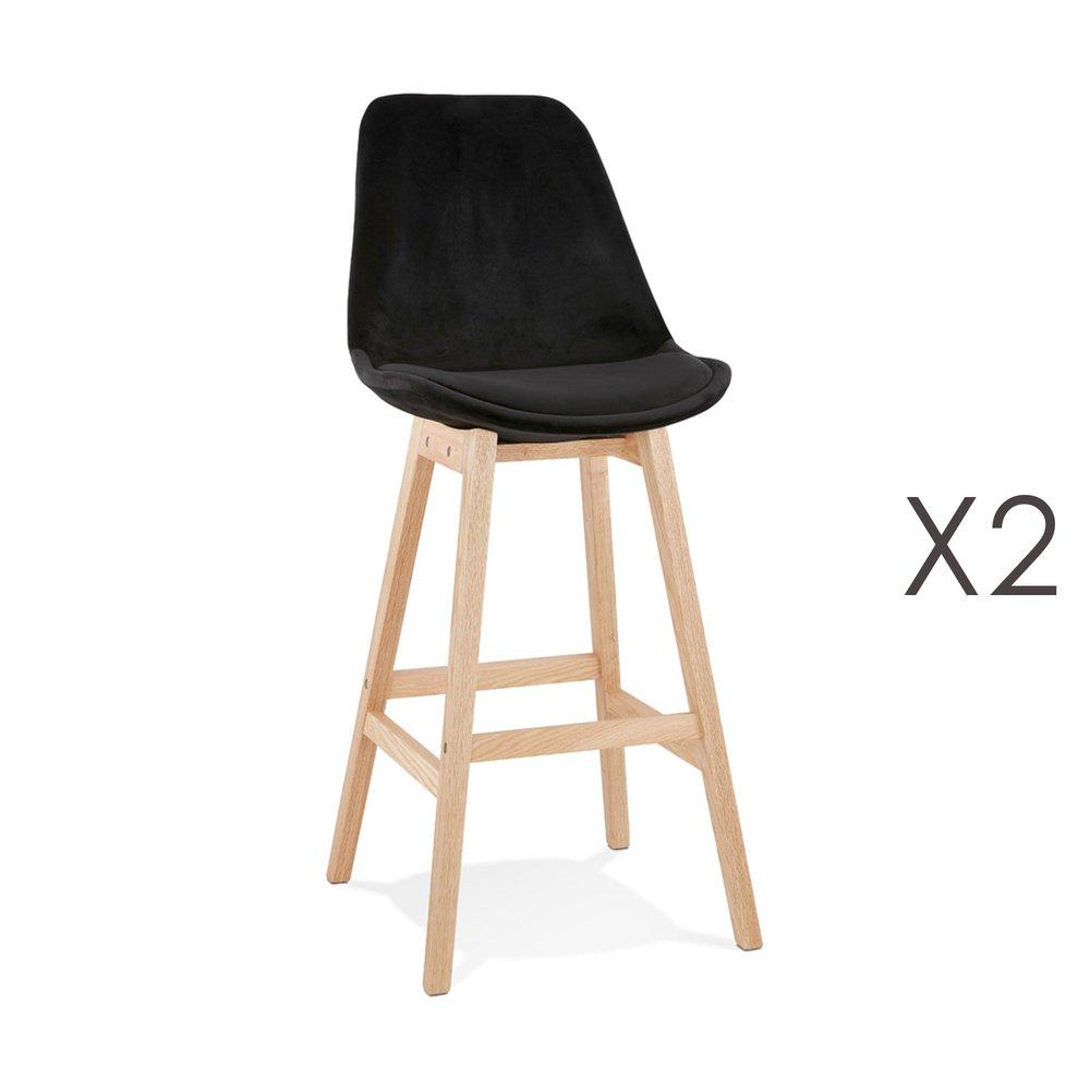 Tabouret de bar - Lot de 2 chaises de bar H76 cm en tissu noir pieds naturels - ELO photo 1