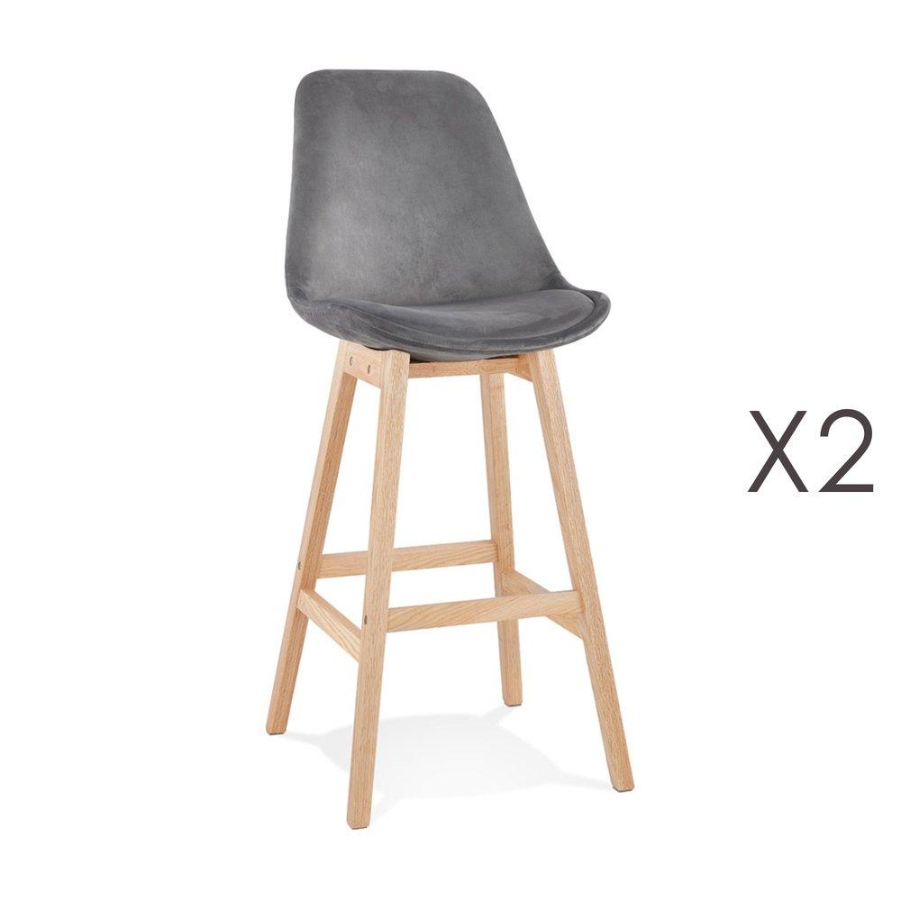 Tabouret de bar - Lot de 2 chaises de bar H76 cm en tissu gris pieds naturels - ELO photo 1