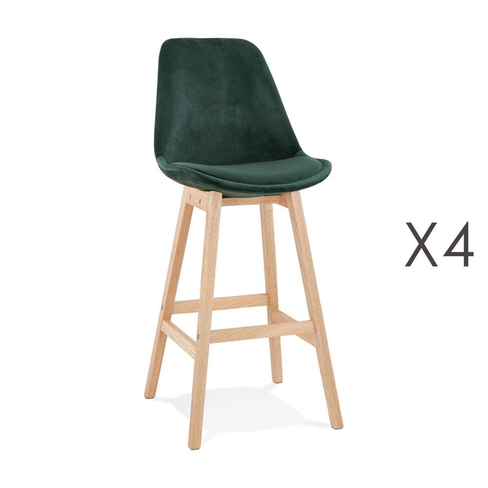 Tabouret de bar - Lot de 4 chaises de bar H76 cm en tissu vert pieds naturels - ELO photo 1