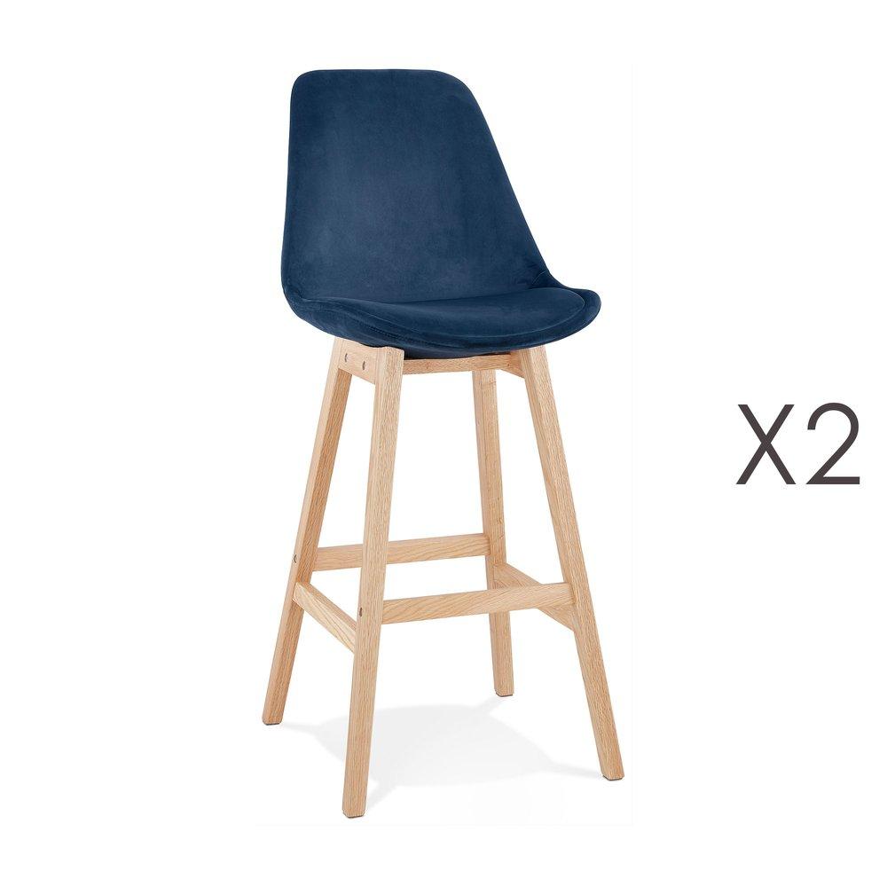 Tabouret de bar - Lot de 2 chaises de bar H76 cm en tissu bleu pieds naturels - ELO photo 1