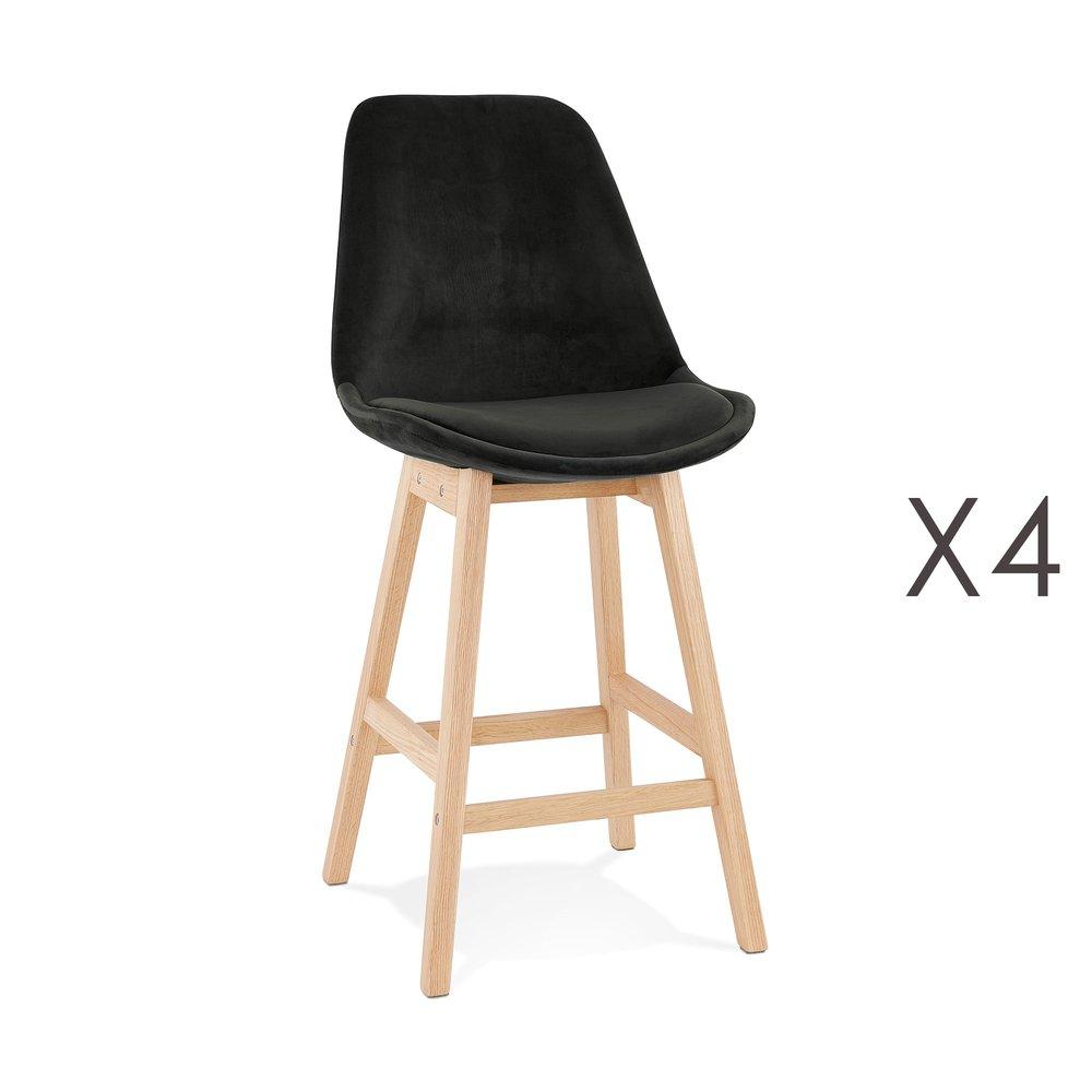 Tabouret de bar - Lot de 4 chaises de bar H66 cm en tissu noir pieds naturels - ELO photo 1
