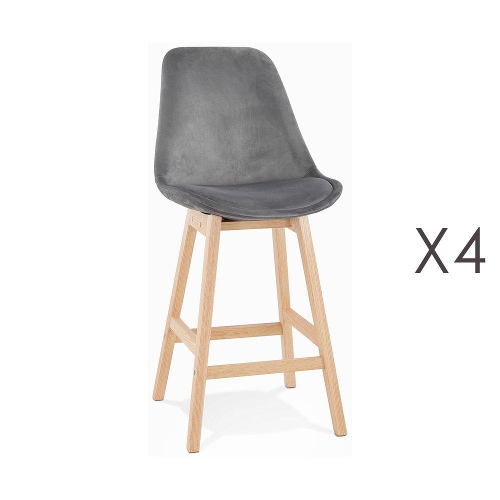 Tabouret de bar - Lot de 4 chaises de bar H66 cm en tissu gris pieds naturels - ELO photo 1