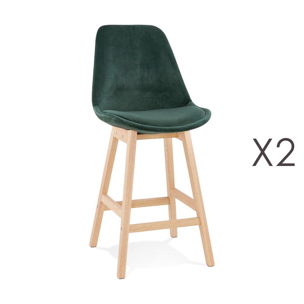 Tabouret de bar - Lot de 2 chaises de bar H66 cm en tissu vert pieds naturels - ELO photo 1