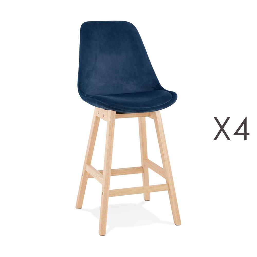 Tabouret de bar - Lot de 4 chaises de bar H66 cm en tissu bleu pieds naturels - ELO photo 1