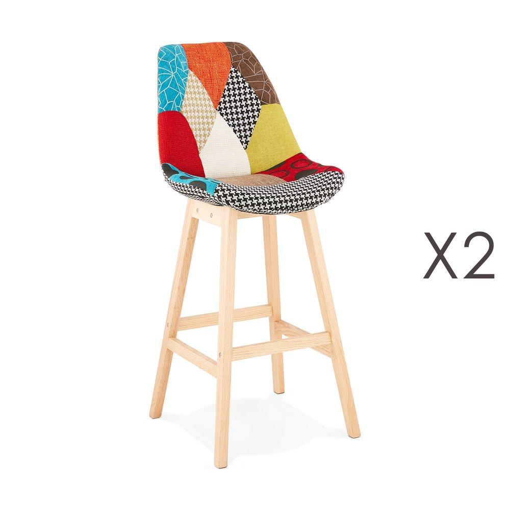 Tabouret de bar - Lot de 2 chaises de bar H75 cm en tissu patchwork - ELO photo 1