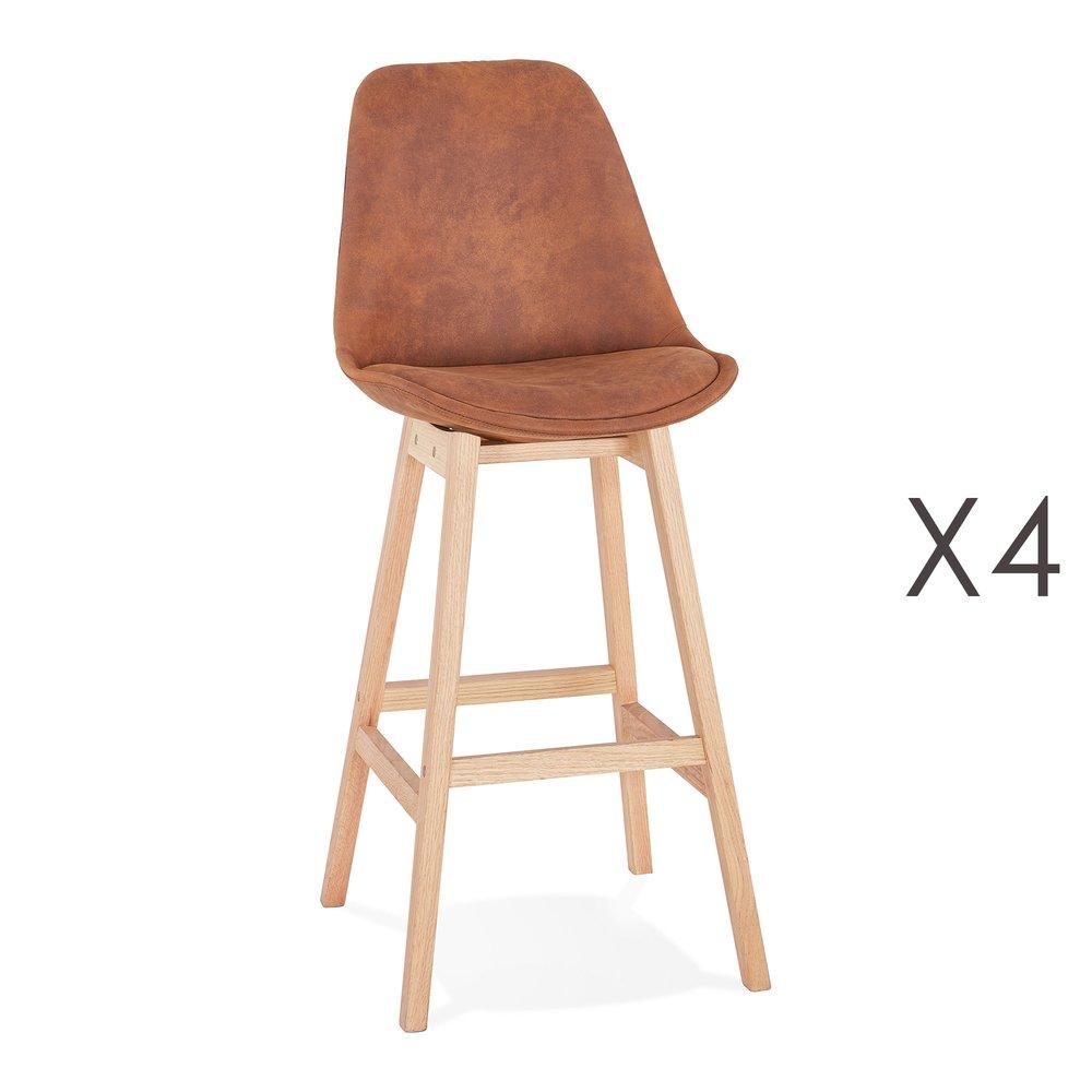 Tabouret de bar - Lot de 4 chaises de bar H76 cm tissu marron pieds naturels - ELO photo 1