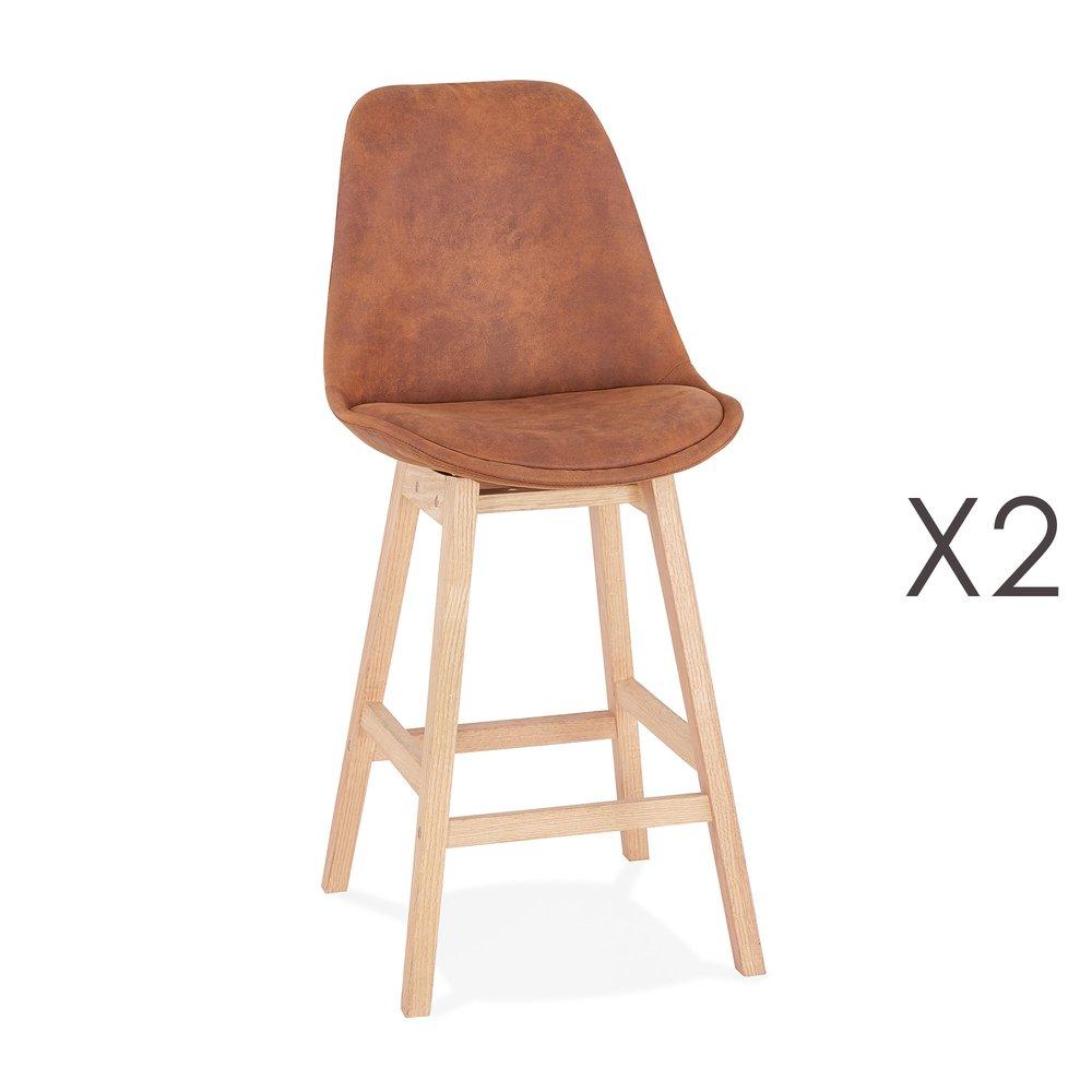 Tabouret de bar - Lot de 2 chaises de bar H66 cm tissu marron pieds naturels - ELO photo 1