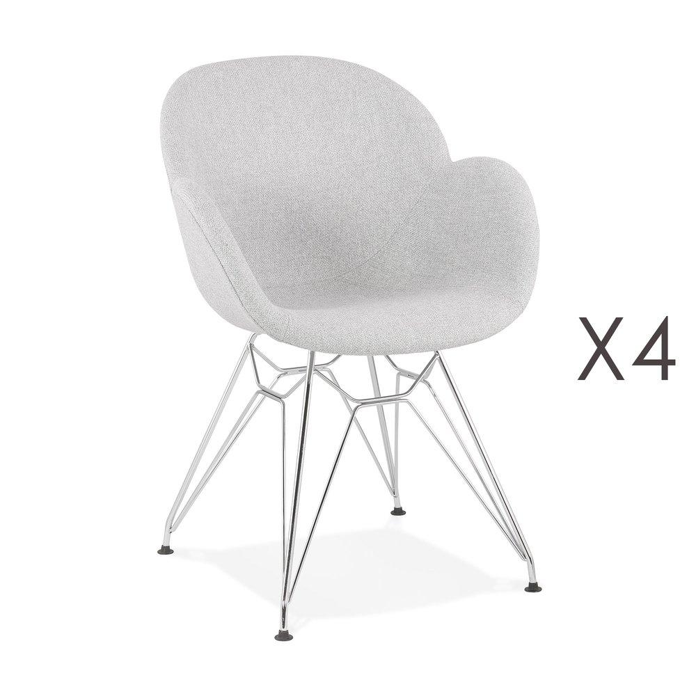 Chaise - Lot de 4 chaises tissu gris clair piétement en métal chromé - UMILA photo 1