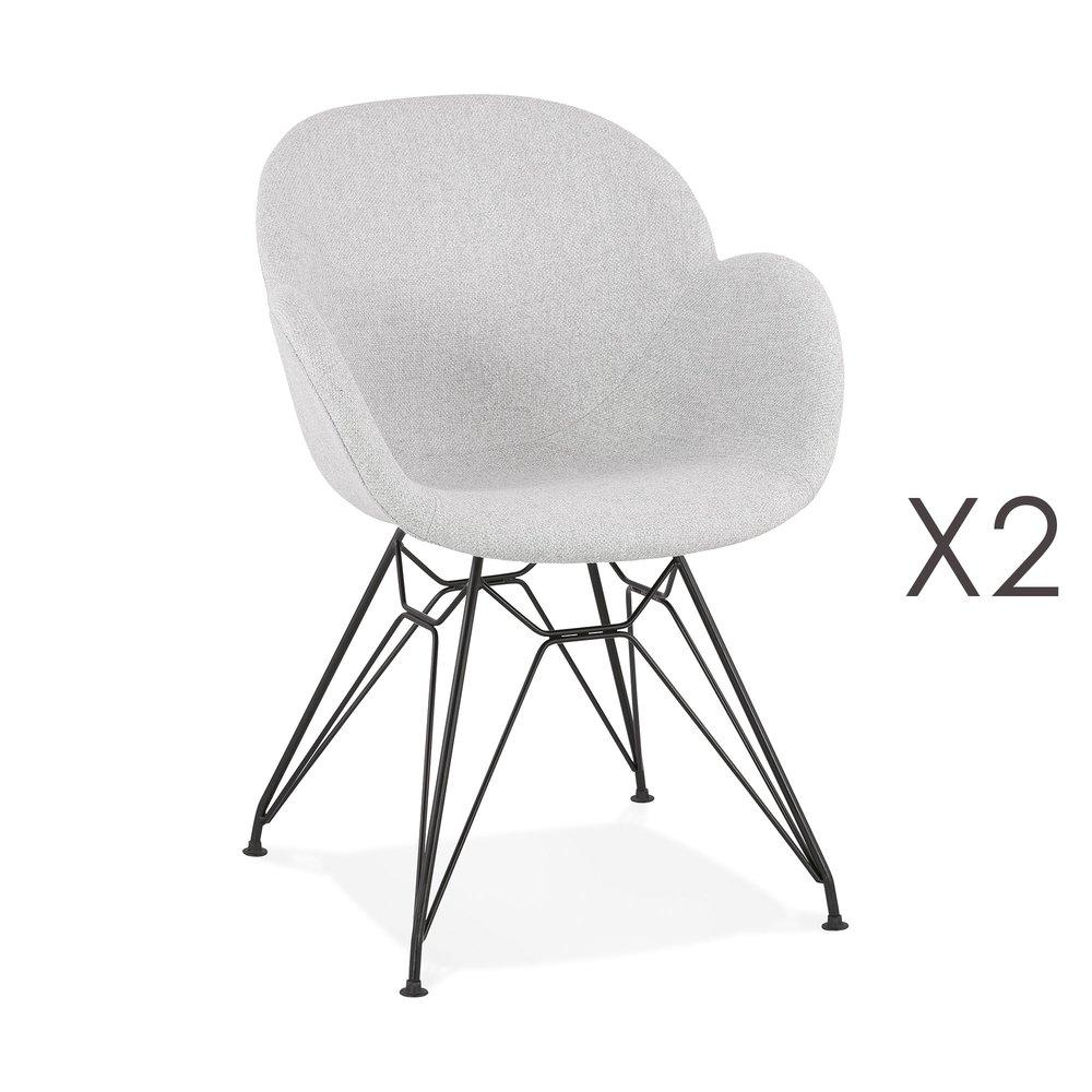 Tabouret de bar - Lot de 2 chaises tissu gris clair piètement en métal noir- UMILA photo 1