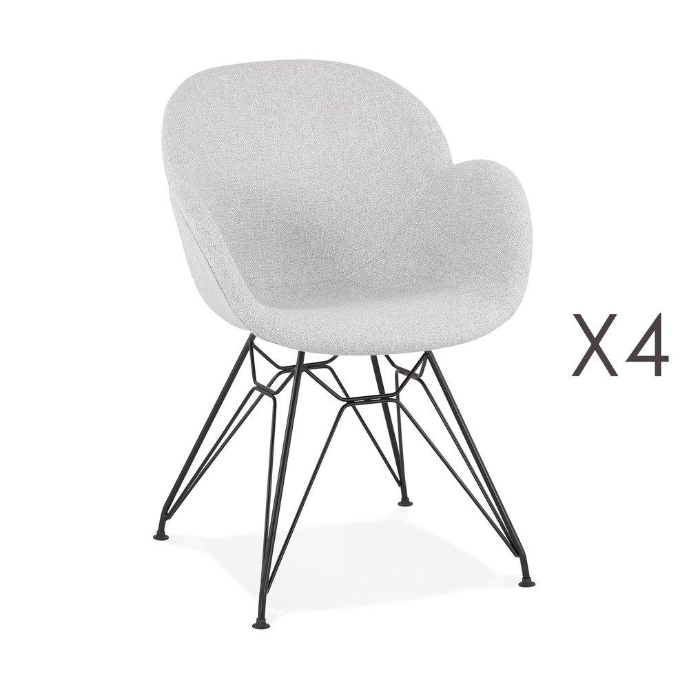Chaise - Lot de 4 chaises tissu gris clair piètement en métal noir- UMILA photo 1