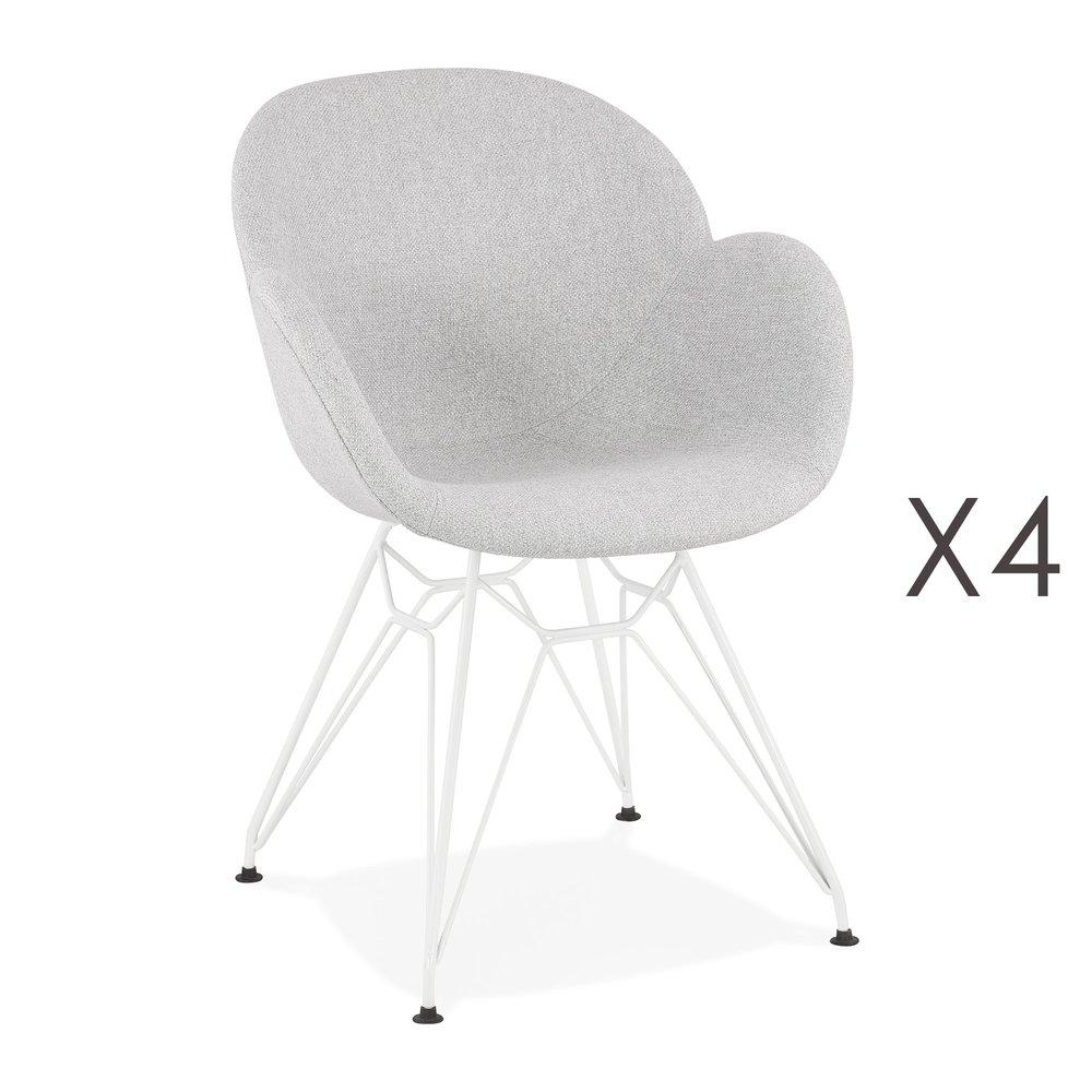 Chaise - Lot de 4 chaises tissu gris clair piètement en métal blanc - UMILA photo 1