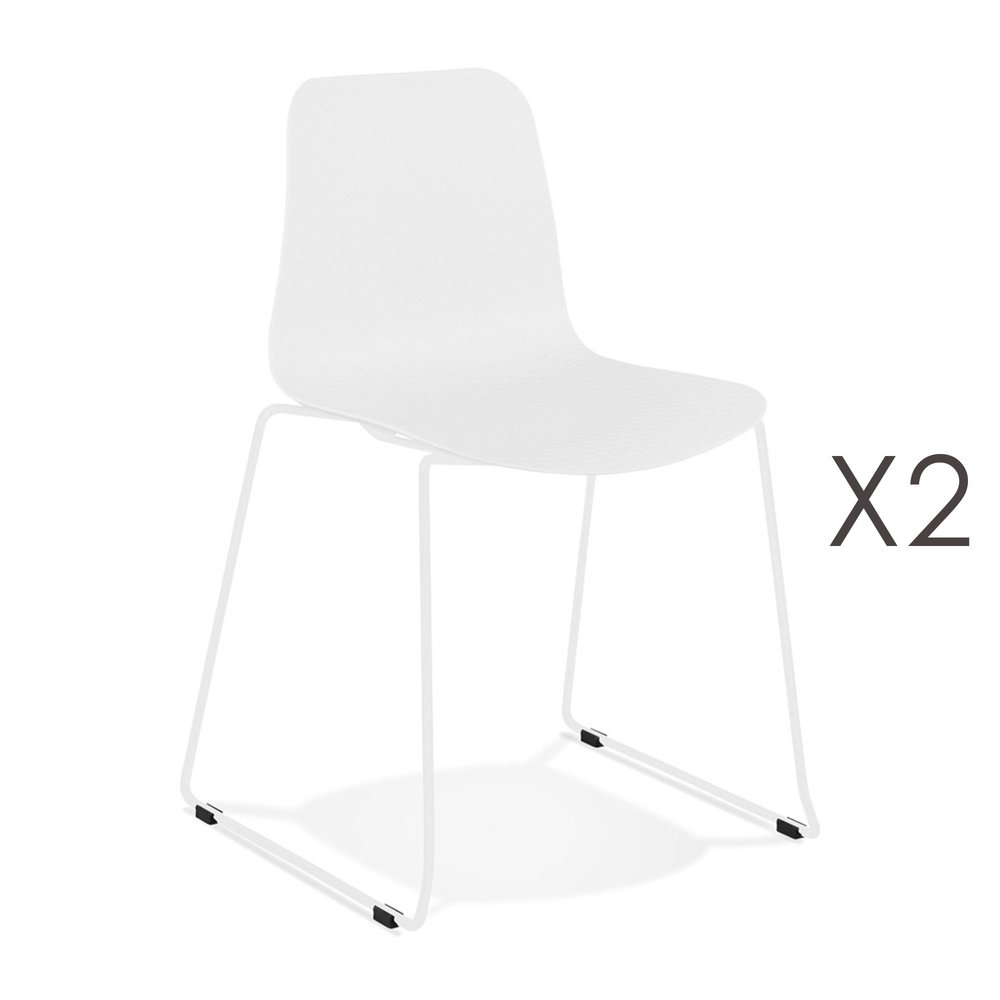 Chaise - Lot de 2 chaises repas 55x50x82,5 cm blanches et pieds blancs - LAYNA photo 1