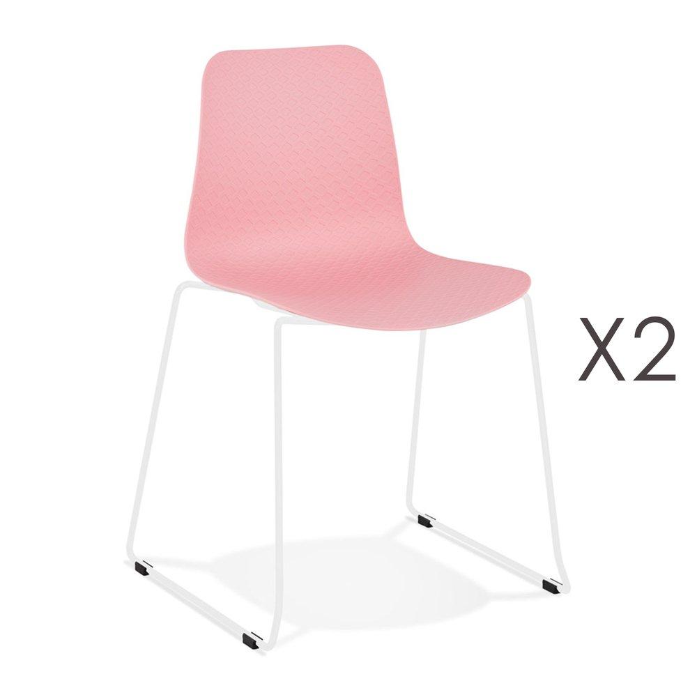 Chaise - Lot de 2 chaises repas 55x50x82,5 cm roses et pieds blancs - LAYNA photo 1