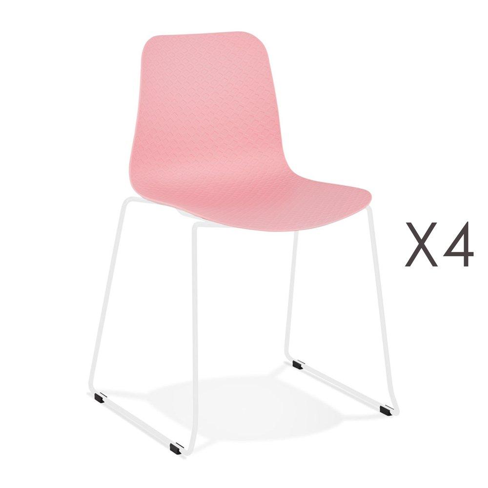 Chaise - Lot de 4 chaises repas 55x50x82,5 cm roses et pieds blancs - LAYNA photo 1