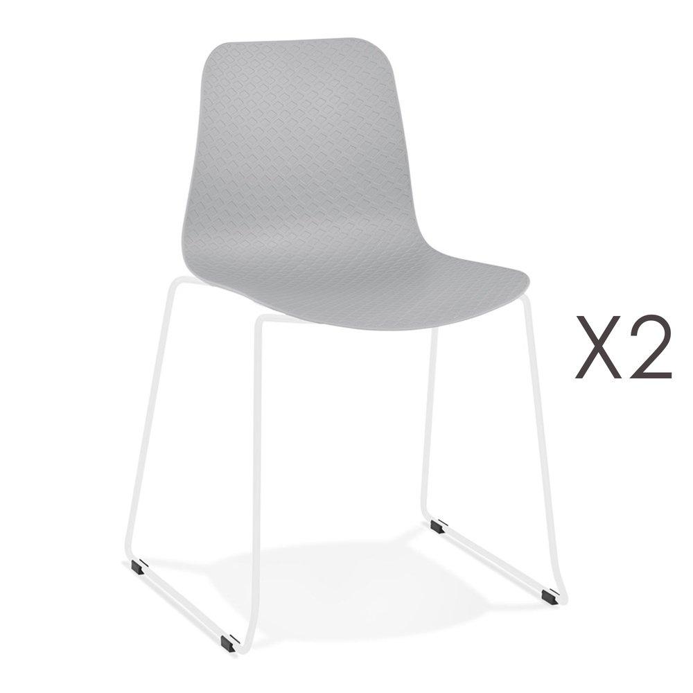 Chaise - Lot de 2 chaises repas 55x50x82,5 cm grises et pieds blancs - LAYNA photo 1