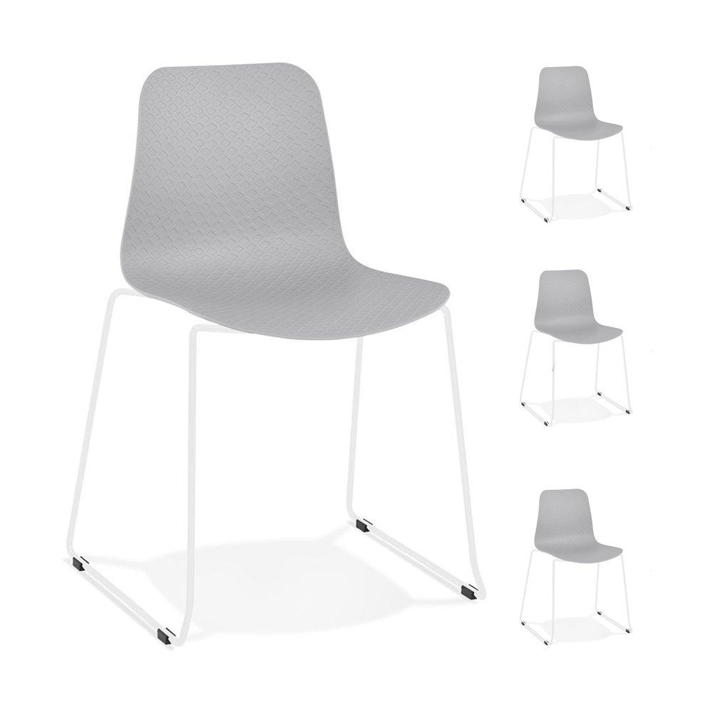 Chaise - Lot de 4 chaises repas 55x50x82,5 cm grises et pieds blancs - LAYNA photo 1
