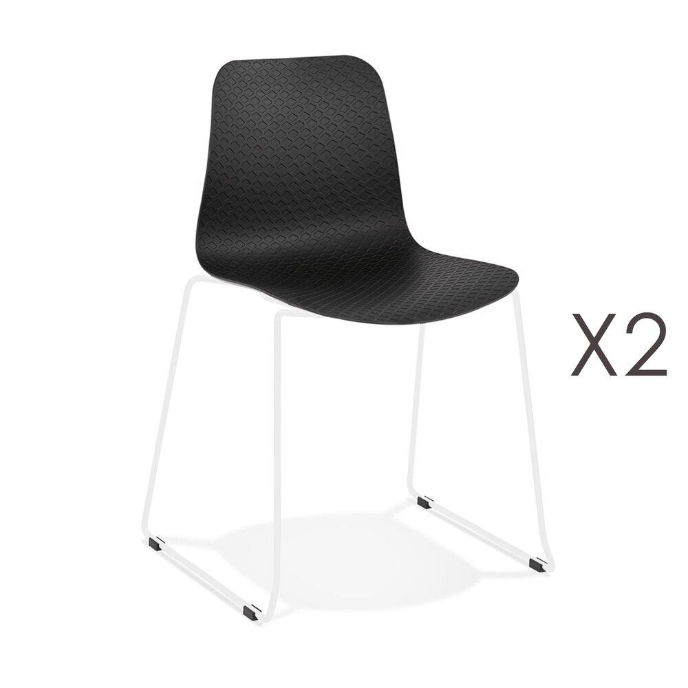 Chaise - Lot de 2 chaises repas 55x50x82,5 cm noires et pieds blancs - LAYNA photo 1