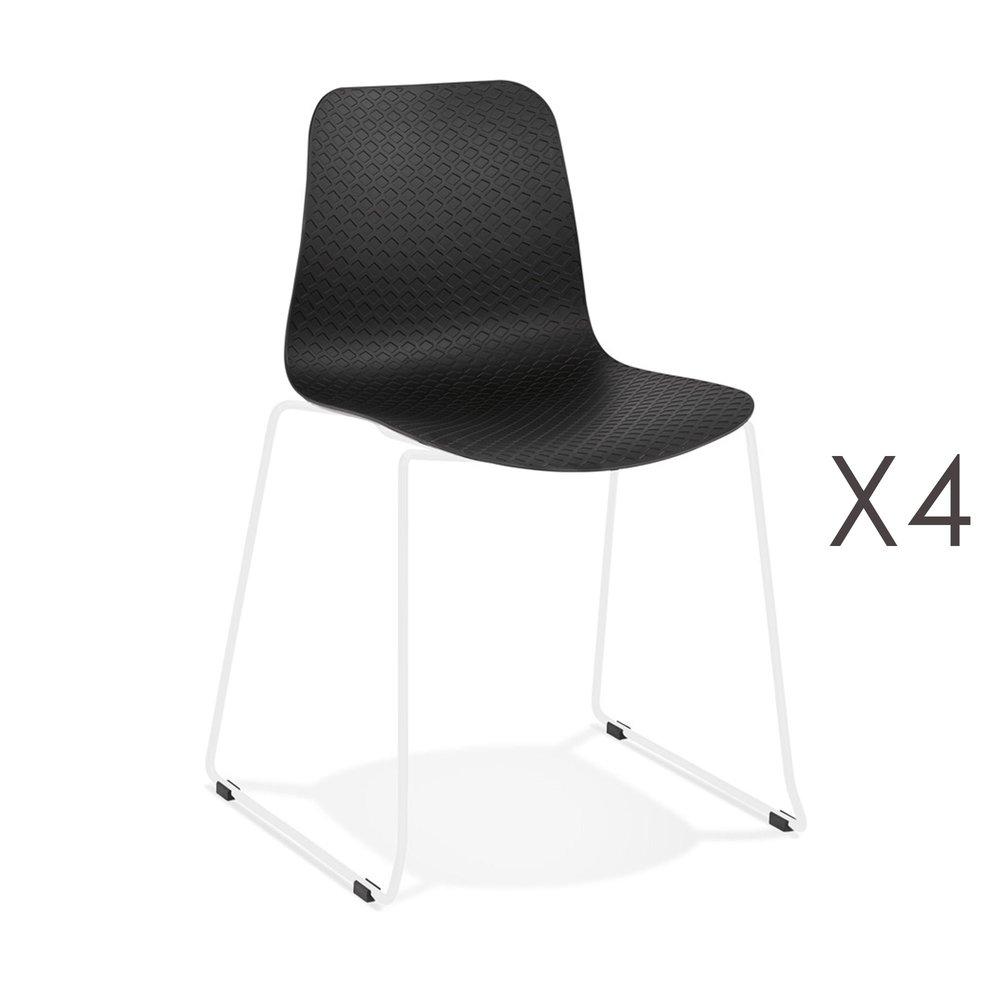 Chaise - Lot de 4 chaises repas 55x50x82,5 cm noires et pieds blancs - LAYNA photo 1