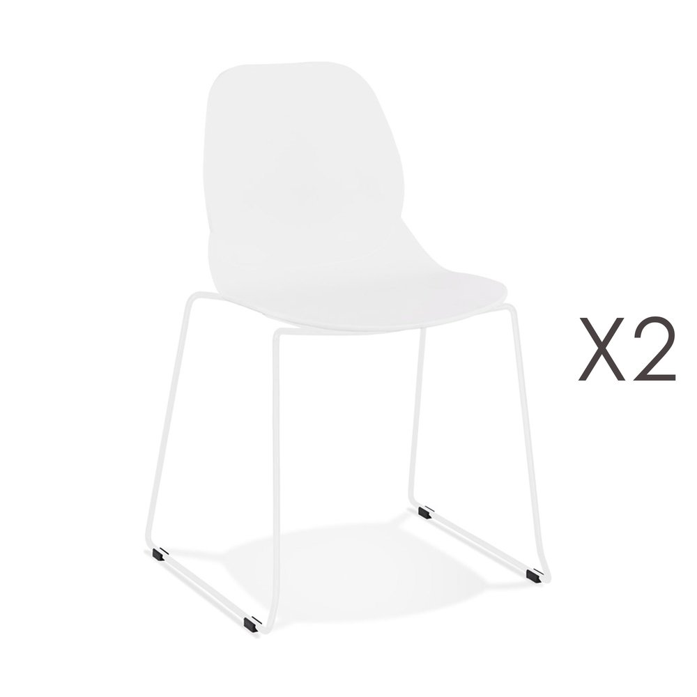 Chaise - Lot de 2 chaises repas 54x50x85 cm blanches et pieds blancs - LAYNA photo 1
